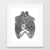 lungs Framed Art Prints featuring Lungs by Orange Blood Gallery