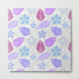 Purple, Pink, Blue, Green and Gray Leaf Floral Pattern Metal Print