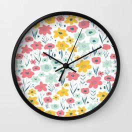 Spring Flower Meadow Wall Clock