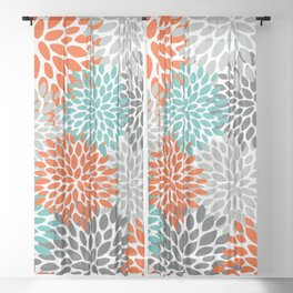Floral Pattern, Abstract, Orange, Teal and Gray Sheer Curtain