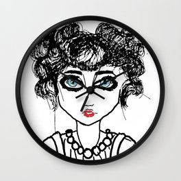 The girl with the blue eyes Wall Clock