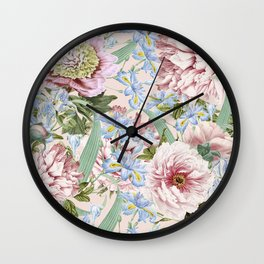 Vintage & Shabby Chic Floral Peony and Iris Flowers Garden Watercolor Pattern Wall Clock