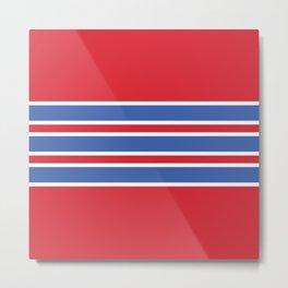 70s Style Red White Blue Retro Stripes Tlaloc Metal Print