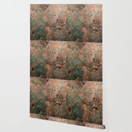 Marble Emerald Copper Blue Green Wallpaper