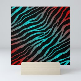 Ripped SpaceTime Stripes - Red/Cyan Mini Art Print