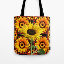 SOUTHWESTERN  BLACK COLOR YELLOW SUNFLOWERS ART Tote Bag