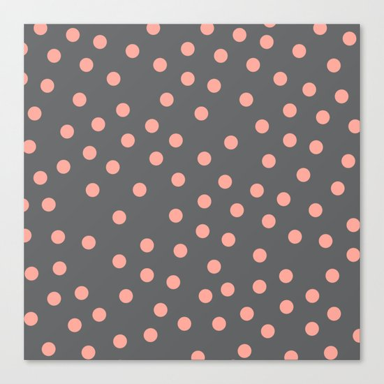 Simply Dots Salmon Pink on Storm Gray Canvas Print