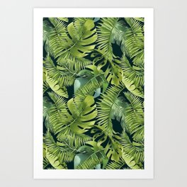 Lush Green Monstera And Palm Leaf Pattern Art Print