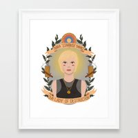 "karu kara Framed Art Prints featuring Kara ""Starbuck"" Thrace by heymonster"