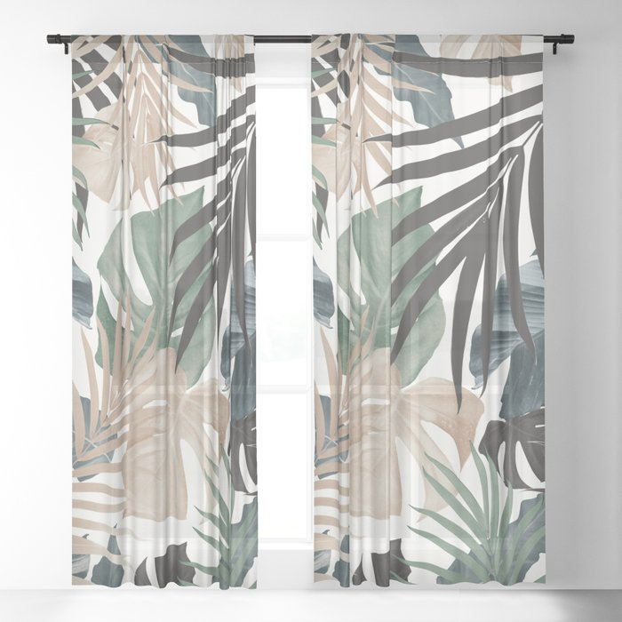 Tropical Jungle Leaves Pattern #13 (Fall Colors) #tropical #decor #art #society6 Sheer Curtain