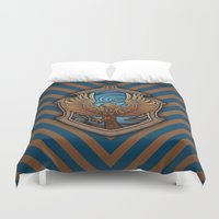 ravenclaw Duvet Covers featuring Hogwarts House Crest - Ravenclaw Book by Teo Hoble