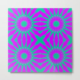 Purple & Teal Pinwheel Flowers Metal Print