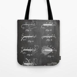 Fly Fishing Patent - Fisherman Art - Black Chalkboard Tote Bag