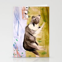 border collie Stationery Cards featuring Border Collie by Caballos of Colour