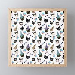 Festive Birthday Cat Party Framed Mini Art Print