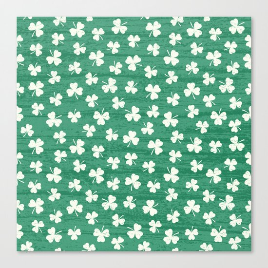 DANCING SHAMROCKS on green Canvas Print