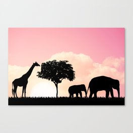 Nature background with elephants and giraffe Canvas Print