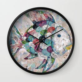Rainbow Fish Collage Wall Clock