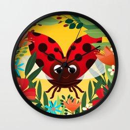 Happy Ladybird Ladybug Beetle Wall Clock