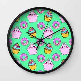Cute funny Kawaii chibi pink little playful baby bunnies, happy sweet donuts and adorable colorful yummy cupcakes light bright pastel teal green seamless pattern design. Wall Clock