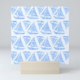 Blue Sailing Boats Water Pattern Mini Art Print