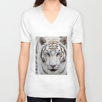 tiger V-neck T-shirts featuring TIGER TIGER by Catspaws