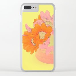 Orange and Pink Flowers Clear iPhone Case