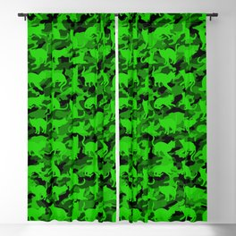 Bright Neon Green Catmouflage Blackout Curtain