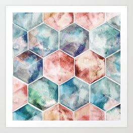 Earth and Sky Hexagon Watercolor Art Print