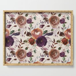 Bohemian orange violet brown watercolor floral pattern Serving Tray