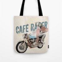 cafe racer Tote Bags featuring Cafe Racer by Liviu Antonescu