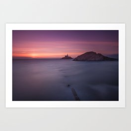 Daybreak at Mumbles lighthouse Art Print