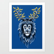 Deer Lion Art Print