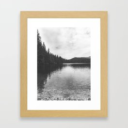 Reflections on black & white lake Framed Art Print