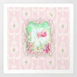 The Swing, Romantic Marie Antoinette Garden Art Print