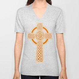St Patrick's Day Celtic Cross Orange and White Unisex V-Neck