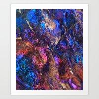 Blue Rainbow Oil Slick Crystals Art Print