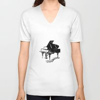 piano V-neck T-shirts featuring Piano by Azure Cricket