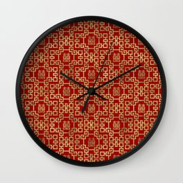 Chinese Pattern Double Happiness Symbol Gold on Red Wall Clock