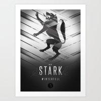 house stark Art Prints featuring House Stark Sigil III (house seat) by P3RF3KT