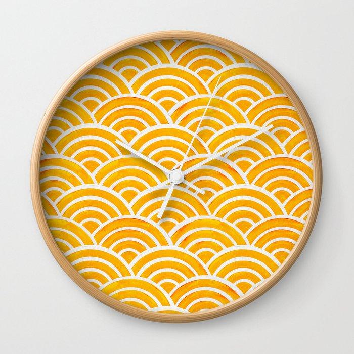 Japanese Seigaiha Wave – Marigold Palette Wall Clock