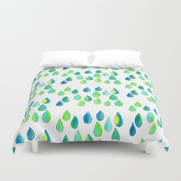 Cherish All of Your Tears blue green pattern tears illustration watercolor inspirational words Duvet Cover