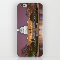 washington dc iPhone & iPod Skins featuring Glowing Washington DC Capitol by Nicolas Raymond