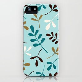 Assorted Leaf Silhouettes Teals Cream Brown Gold iPhone Case
