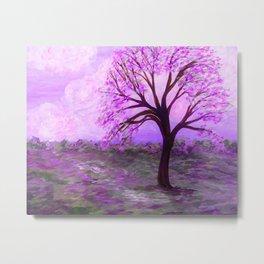 One Purple Tree Abstract Landscape Metal Print