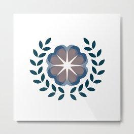floral wreath // blue Metal Print