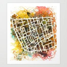 Soho London Map Art Print