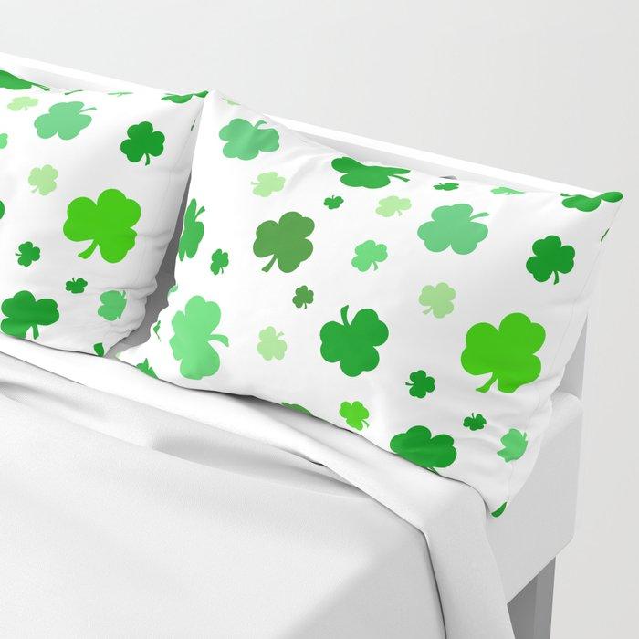 Green Shamrock Pattern Pillow Sham