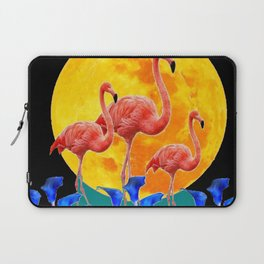 BLACK PINK FLAMINGOS FULL MOON BLUE LILIES Laptop Sleeve