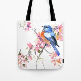 Bluebird and Cherry Blossom Tote Bag